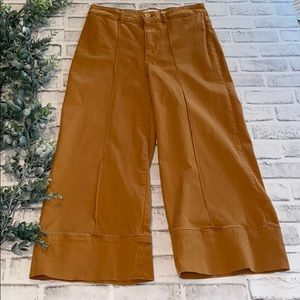 Anthropologie Cropped Wide Leg Chino Pants